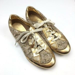 Coach Shoes Gold Monogram Sneakers Classic C Logo